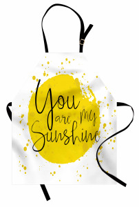 Aşk Temalı Mutfak Önlüğü Romantik Sarı Sulu Boya Şık