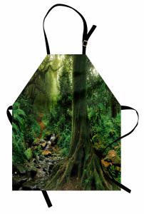 Ağaçlar ve Dere Mutfak Önlüğü Yeşil Ağaçlar Orman