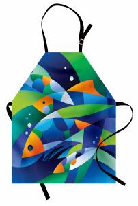 Geometrik Balıklar Mutfak Önlüğü Modern Sanat
