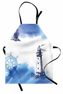 Martı ve Deniz Feneri Mutfak Önlüğü Martı Mavi Beyaz
