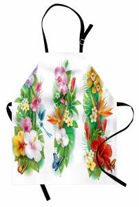 Tropikal Renkli Çiçek Mutfak Önlüğü Tropikal Çiçekler Turuncu