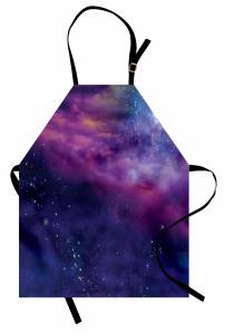 Uzay ve Galaksi Desenli Mutfak Önlüğü Şık Dekoratif
