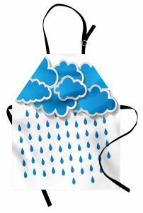 Yağmur Bulutu Desenli Mutfak Önlüğü Mavi Beyaz Yağmur Bulutu