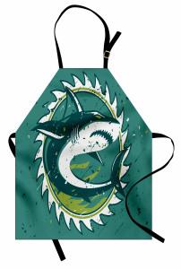 Köpek Balığı Mutfak Önlüğü Köpek Balığı Şık Tasarım Beyaz