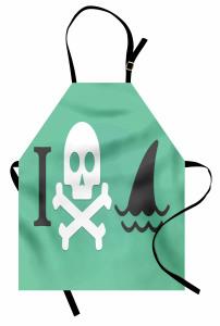 Kuru Kafa Köpek Balığı Mutfak Önlüğü Kurukafa Köpek Balığı Siyah Beyaz