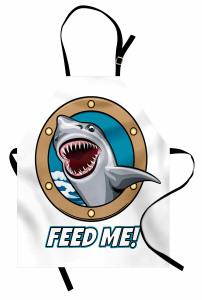 Acıkmış Köpek Balığı Mutfak Önlüğü Mavi Kahverengi