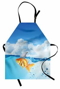 Köpek Balığı ve Bulut Mutfak Önlüğü Komik Turuncu Balık Köpek Balığı