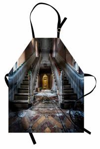 Hasarlı Bina Temalı Mutfak Önlüğü Kahverengi Merdiven