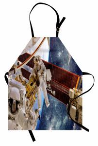 Astronot Temalı Mutfak Önlüğü Uzay Beyaz Gezegen Mavi