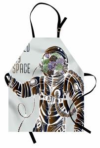 Astronot ve Çiçek Mutfak Önlüğü Kahverengi