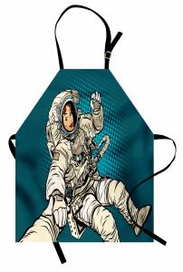Kadın Astronot Desenli Mutfak Önlüğü Mavi Şık Tasarım