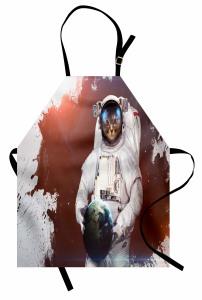 Astronot Kedi Temalı Mutfak Önlüğü Gri Beyaz Uzay
