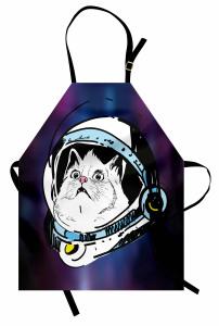 Astronot Kedi Temalı Mutfak Önlüğü Mor Beyaz Uzay
