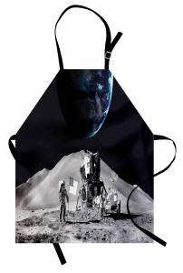 Ay'daki Astronot Temalı Mutfak Önlüğü Gri Uzay Kozmos