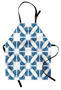 Mavi Yaprak ve Kare Mutfak Önlüğü Şık Tasarım