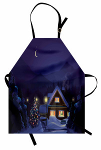 Karlı Gece ve Ahşap Ev Mutfak Önlüğü Kış