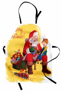 Noel Baba ve Kız Mutfak Önlüğü Yılbaşı Temalı