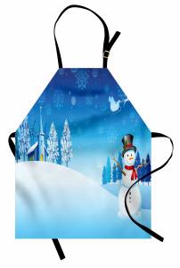 Kardan Adam ve Kilise Mutfak Önlüğü Mavi Beyaz