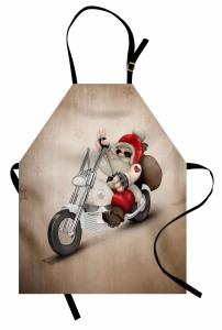 Motorcu Noel Baba Mutfak Önlüğü Bej Arka Plan