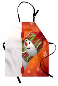 Kardan Adam Desenli Mutfak Önlüğü Kırmızı Yeşil Kar