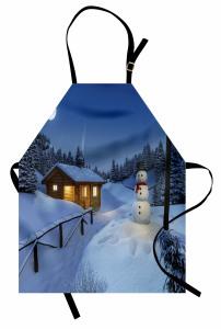 Kış Temalı Mutfak Önlüğü Mavi Kar Kardan Adam Kulübe