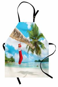 Egzotik Adada Noel Mutfak Önlüğü Palmiye Deniz