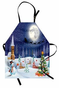 Yılbaşı Temalı Mutfak Önlüğü Geyik Kardan Adam Çam