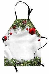 Yılbaşı Ağacı Temalı Mutfak Önlüğü Kırmızı Yeşil Beyaz