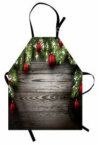 Noel Ağacı Temalı Mutfak Önlüğü Kahverengi Kırmızı Süs