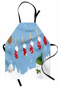 Kardan Adam Desenli Mutfak Önlüğü Mavi Beyaz Kırmızı