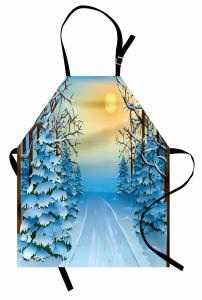 Karlı Orman Gün Batımı Mutfak Önlüğü Mavi Beyaz Kar Gün Batımı