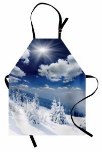 Bulutlar ve Karlı Ağaç Mutfak Önlüğü Gün Doğumu Beyaz