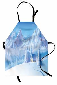 Karlı Dağ ve Kulübe Mutfak Önlüğü Karlı Dağ Manzaralı Mavi