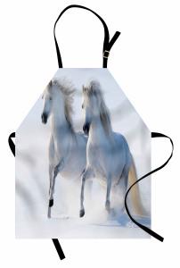 Karda Koşan Beyaz Atlar Mutfak Önlüğü Karlarda Koşan Yabani Atlar Doğa