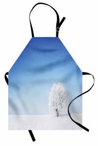 Karlı Ağaç Desenli Mutfak Önlüğü Romantik Mavi Beyaz