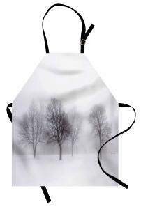 Karlı Orman Desenli Mutfak Önlüğü Beyaz Kahverengi
