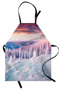 Karlı Orman Mutfak Önlüğü Gün Batımı Beyaz