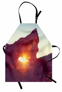 Dağ Manzaralı Mutfak Önlüğü Güneş Kahverengi Turuncu