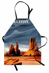 Büyük Kanyon Temalı Mutfak Önlüğü Mavi Kahverengi