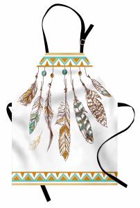 Kuş Tüyü Desenli Mutfak Önlüğü Kahverengi Beyaz Şık