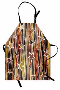 Ahşap Efektli Yıldız Mutfak Önlüğü Dekoratif