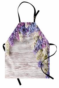Mor Mavi Çiçek Desenli Mutfak Önlüğü Ahşap Arka Planlı