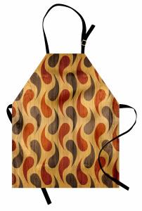 Stilize Damla Desenli Mutfak Önlüğü Kahverengi Ahşap