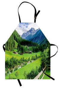 Dağ Evi Manzaralı Mutfak Önlüğü Yeşil Doğa Ağaç Şık