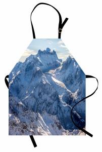 Karlı Dağ Manzaralı Mutfak Önlüğü Kış Gökyüzü Beyaz