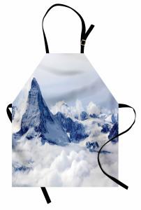 Karlı Dağ Manzaralı Mutfak Önlüğü Kar Gökyüzü Bulut