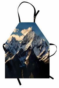 Karlı Dağ Manzaralı Mutfak Önlüğü Doğa Ağaç Gökyüzü