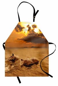 Okyanustaki Yunuslar Mutfak Önlüğü Turuncu