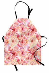 Pembe ve Sarı Çiçekler Mutfak Önlüğü Pembe Çiçekli Şık Tasarım
