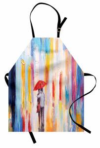 Yağmurda Yürüyen Aşık Mutfak Önlüğü Romantik Yağmur